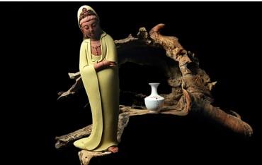 Modern Chinese Style ZEN Porcelain Guanyin Ornament Handicraft