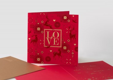 Mother's Day Love Card Red and Silver