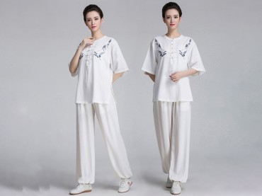 Tai Chi Clothing Short-sleeve Suit for Women Summer Embroidery Linen