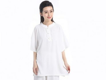Tai Chi Clothing Short-sleeve Suit for Women Summer Ice Silk Fabric