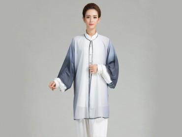 Tai Chi Uniform Suit with Outside Veil Gradient Color Grey