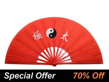 Tai Chi Fan With Classic Tai Chi Pattern Red