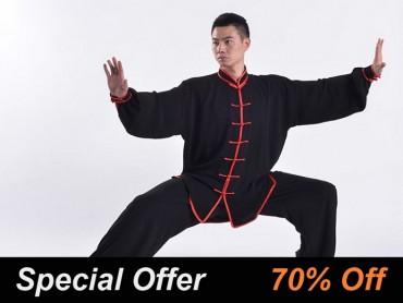Professional Tai Chi Uniform Summer Man Black Red