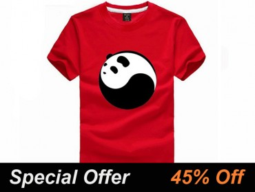 Tai Chi T-shirt Panda Light Red