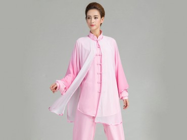 Tai Chi Uniform Suit with Outside Veil Gradient Color Pink