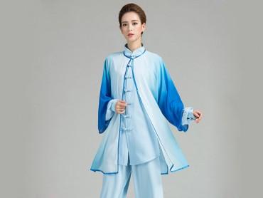 Tai Chi Uniform Suit with Outside Veil Gradient Color Blue