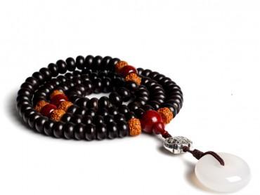 Buddhist Prayer Wrap Bracelet Necklace 108 Coconut Shell Beads with Lobular Rosewood Calcedony Stone Mala