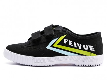 Feiyue Velcro Sports Canvas Shoes Black with Green Strips