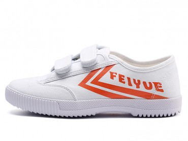 Feiyue Velcro Sports Canvas Shoes White with Orange Strips