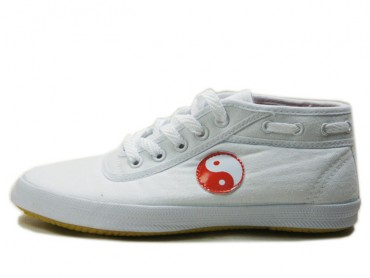Double Star Canvas Tai Chi Shoes High Top White Tai Chi Pattern