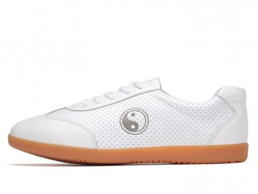 ICNBUYS Breathable Leather Kung Fu Tai Chi Shoes for Summer White