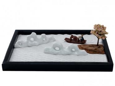 ICNBUYS Zen Garden Mountain River and Boatman Set with Free Rake and Pushing Sand Pen