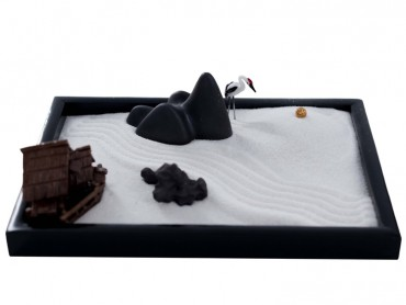 ICNBUYS Zen Garden Mountain River and Crane Set with Free Rake and Pushing Sand Pen