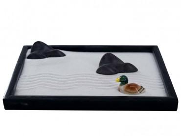 ICNBUYS Zen Garden Mountain River and Mandarin Duck Set with Free Rake and Pushing Sand Pen