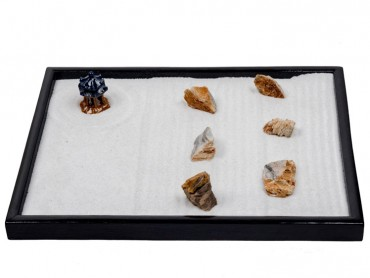 ICNBUYS Zen Garden Pavilion 5 pieces of Special Multiple Layered Stone 1 Piece of Fossil Wood and Free Rakes and Pushing Sand Pen