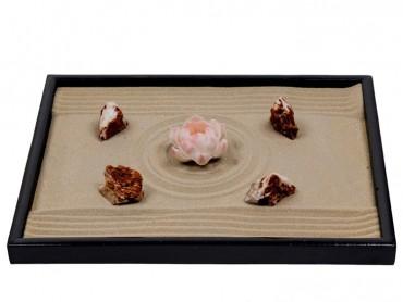 ICNBUYS Zen Garden Pink Ceramics Lotus Special 4 Pieces Of Red White Stones  Dark Ochre Sand