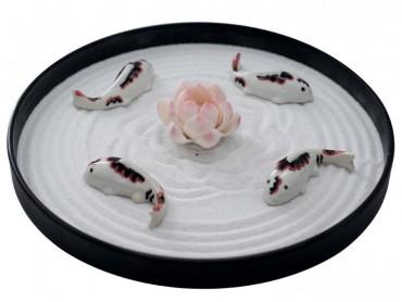 ICNBUYS Zen Garden Pink Lotus and Fishes Set with Free Rake and Pushing Sand Pen