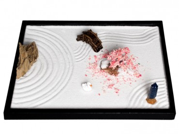 ICNBUYS Zen Garden Sakura Pagoda Bridge Landscape Stone Set with Free Rake and Pushing Sand Pen