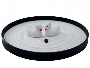 ICNBUYS Zen Garden Swan Set with Free Rake and Pushing Sand Pen