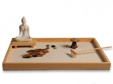 ICNBUYS Zen Garden with Buddha Status Wooden Rake Rocks and Mini Pavilion Set with Free Rake and Pushing Sand Pen