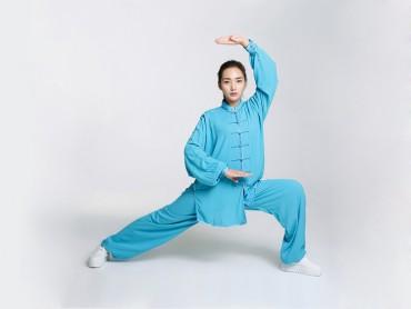 Professional Tai Chi Cloting Uniform Pure Cotton Long-sleeve Blue