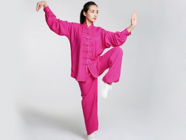 Professional Tai Chi Cloting Uniform Pure Cotton Long-sleeve Red