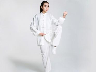 Professional Tai Chi Cloting Uniform Pure Cotton Long-sleeve White