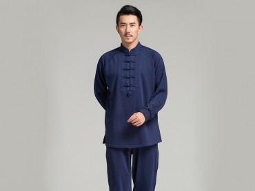 Professional Tai Chi Cloting Uniform Pure Cotton Thicken for Winter Dark Blue