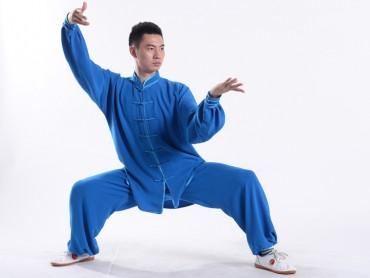 Professional Tai Chi Uniform Summer Man Blue