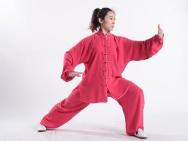 Professional Tai Chi Uniform Summer Woman Maroon