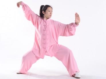 Professional Tai Chi Uniform Summer Woman Pink