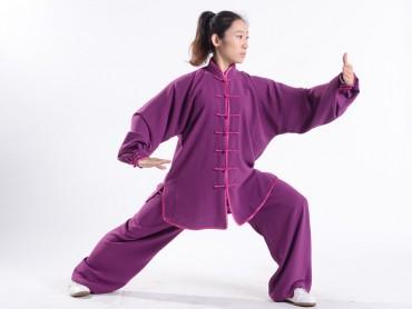 Professional Tai Chi Uniform Summer Woman Purple