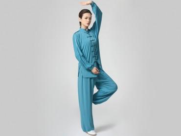 Tai Chi Clothing Set Casual Style Blue