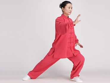 Tai Chi Clothing Cotton and Linen Suit for Women Watermelon Red