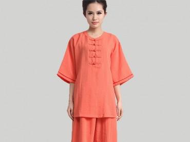 Tai Chi Clothing Half-sleeve Casual Style Orange