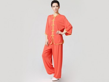 Tai Chi Clothing Half-sleeve Suit for Women Orange
