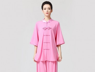Tai Chi Clothing Half-sleeve Suit for Women Peach-Blow