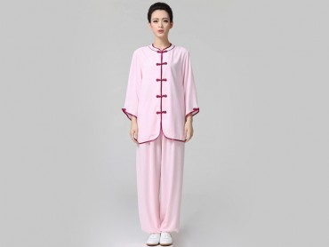 Tai Chi Clothing Half-sleeve Suit for Women Pink