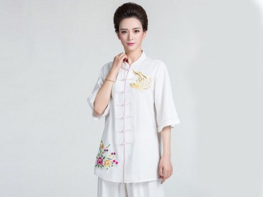 Tai Chi Clothing Half-sleeve Suit for Women Summer Embroidery