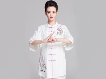 Tai Chi Clothing Half-sleeve Suit for Women Summer Linen
