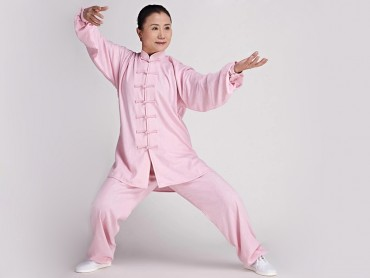 Tai Chi Clothing Linen Suit Pink