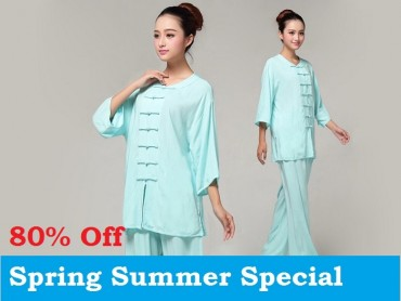 Tai Chi Clothing Pure Cotton Half-sleeve for Women Light Blue