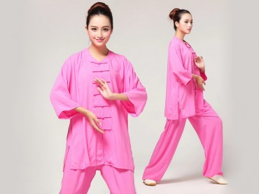 Tai Chi Clothing Pure Cotton Half-sleeve for women Peachblow
