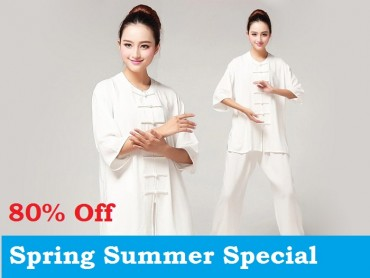 Tai Chi Clothing Pure Cotton Half-sleeve for Women White