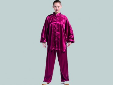 Tai Chi Clothing Set Women Spring Summer Claret Paddy