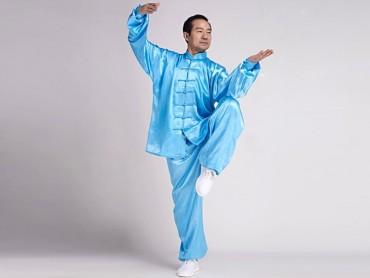 Tai Chi  Uniform Silk Like Suit for Men Blue