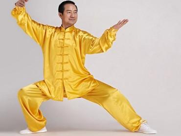 Tai Chi Uniform Silk Like Suit for Men Yellow