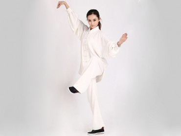 Tai Chi Clothing Uniform White Women Elastic Linen