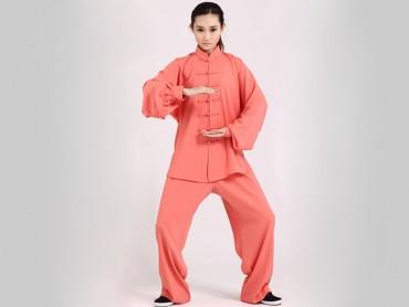 Tai Chi Clothing Uniform Women Orange Elastic Linen