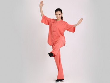 Tai Chi Clothing Uniform Women Summer Half Sleeve Orange Elastic Linen